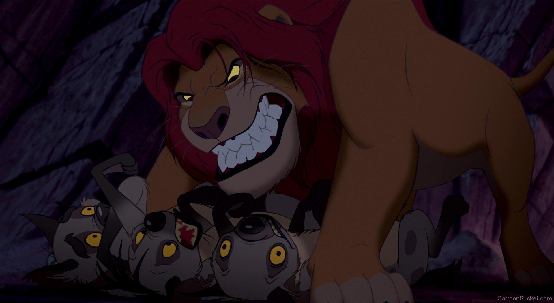 Mufasa Hitting Shenzi,scar And Ed - Lion King Mufasa And Hyenas , HD Wallpaper & Backgrounds