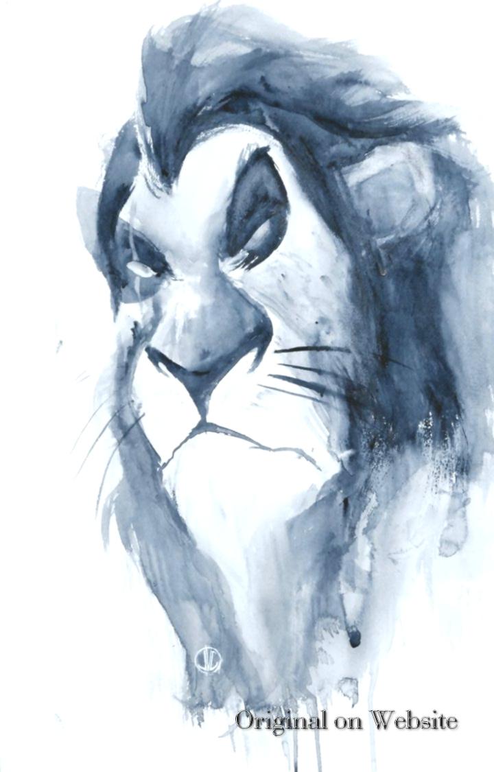 Iphone Wallpaper Disney Characters- Scar Watercolor - Sketch , HD Wallpaper & Backgrounds