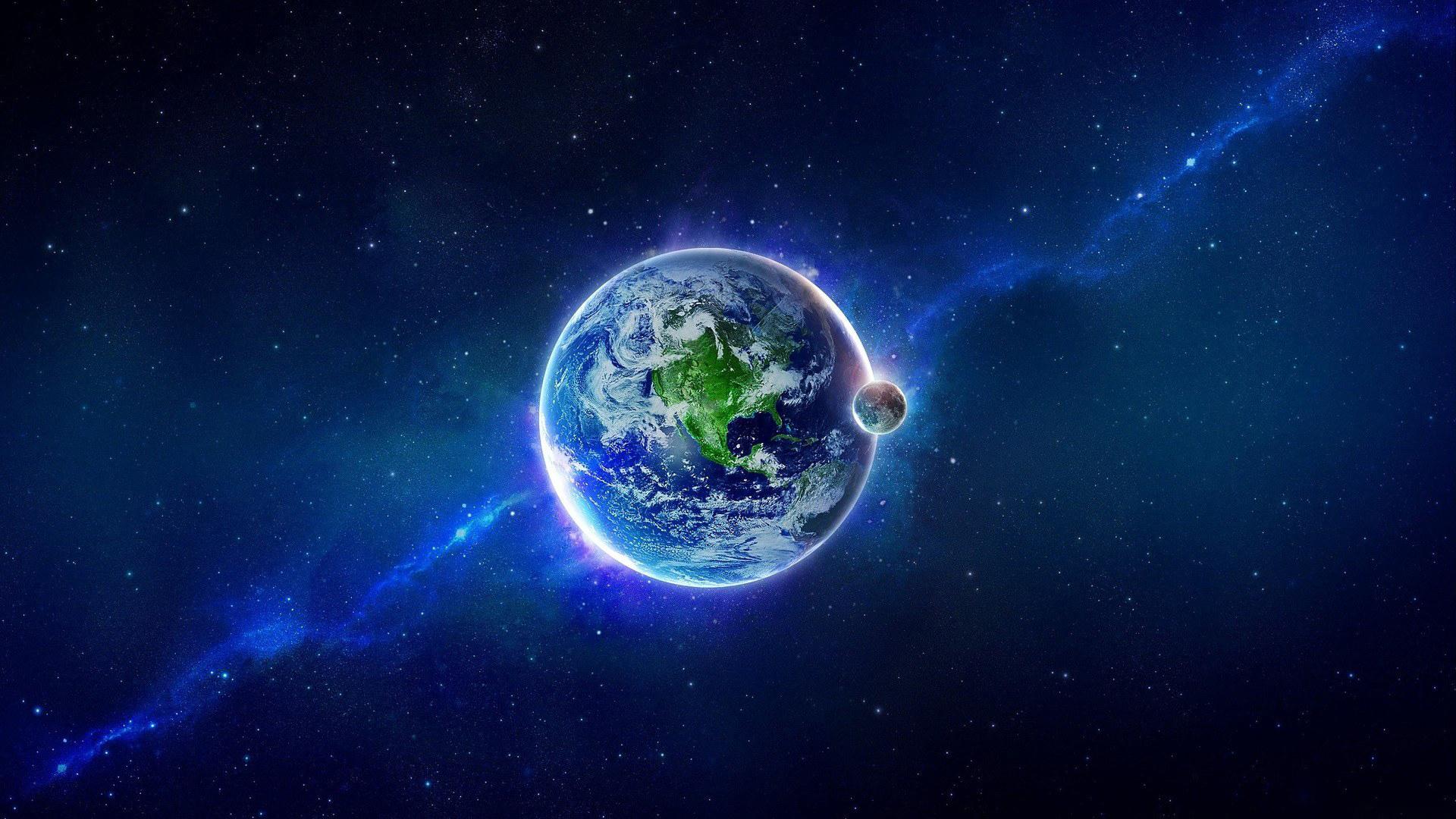 Space Wallpaper Blue Stars Planet Full Hd Earth Hd 1530567