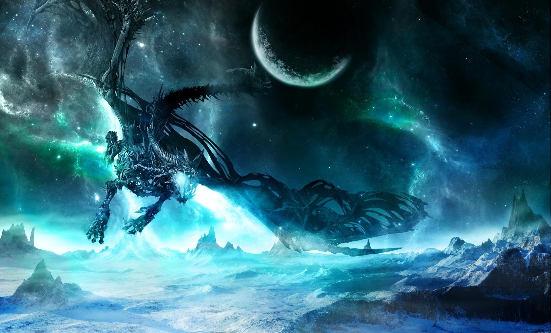 Blue Eyes White Dragon Desktop Backgrounds Space Dragon