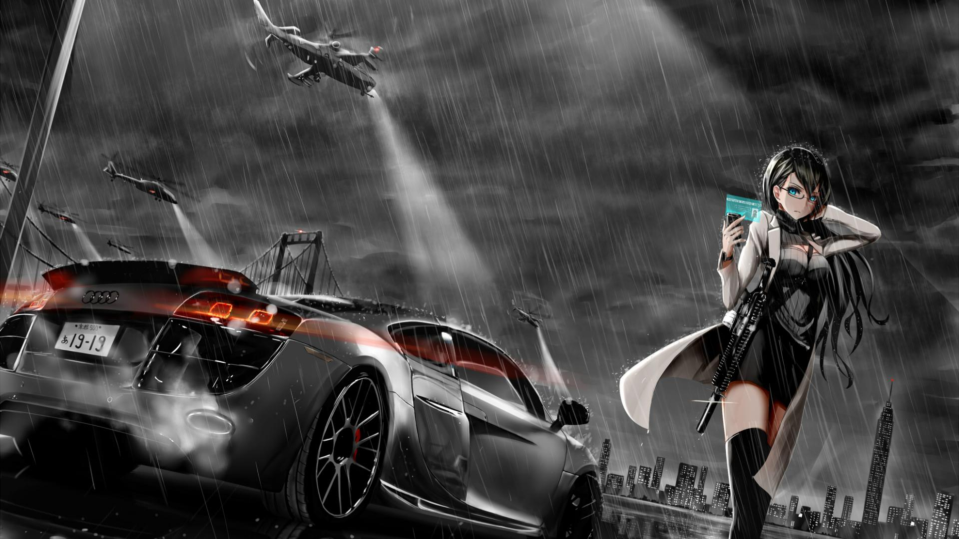 Anime Girl And Cars Hd Wallpaper - Anime Girl And Car , HD Wallpaper & Backgrounds