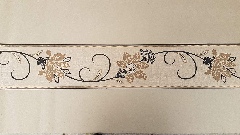 Fine Decor Anastasia Wallpaper Border Black Beige Brown And