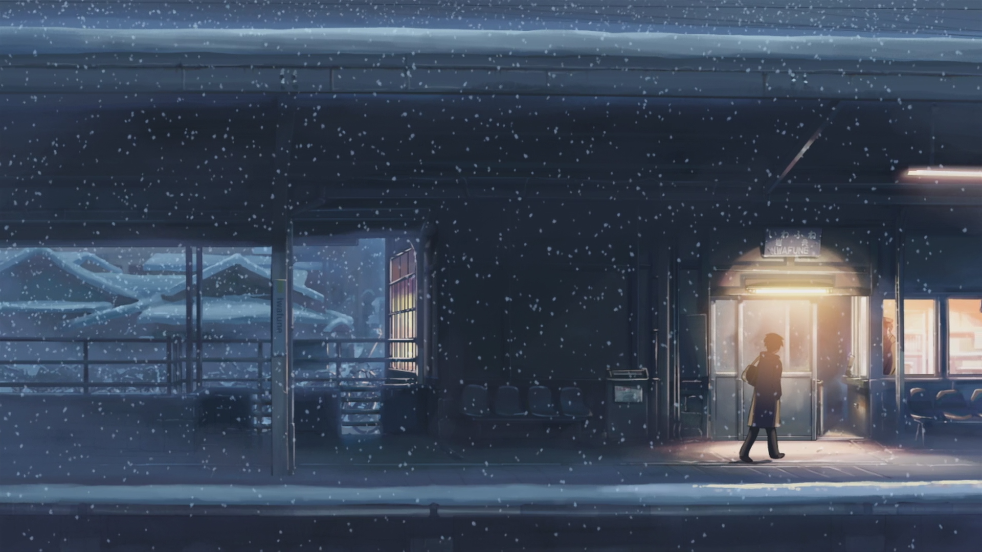#snow, #5 Centimeters Per Second, #train Station, #makoto - 5 Centimeters Per Second Snow , HD Wallpaper & Backgrounds