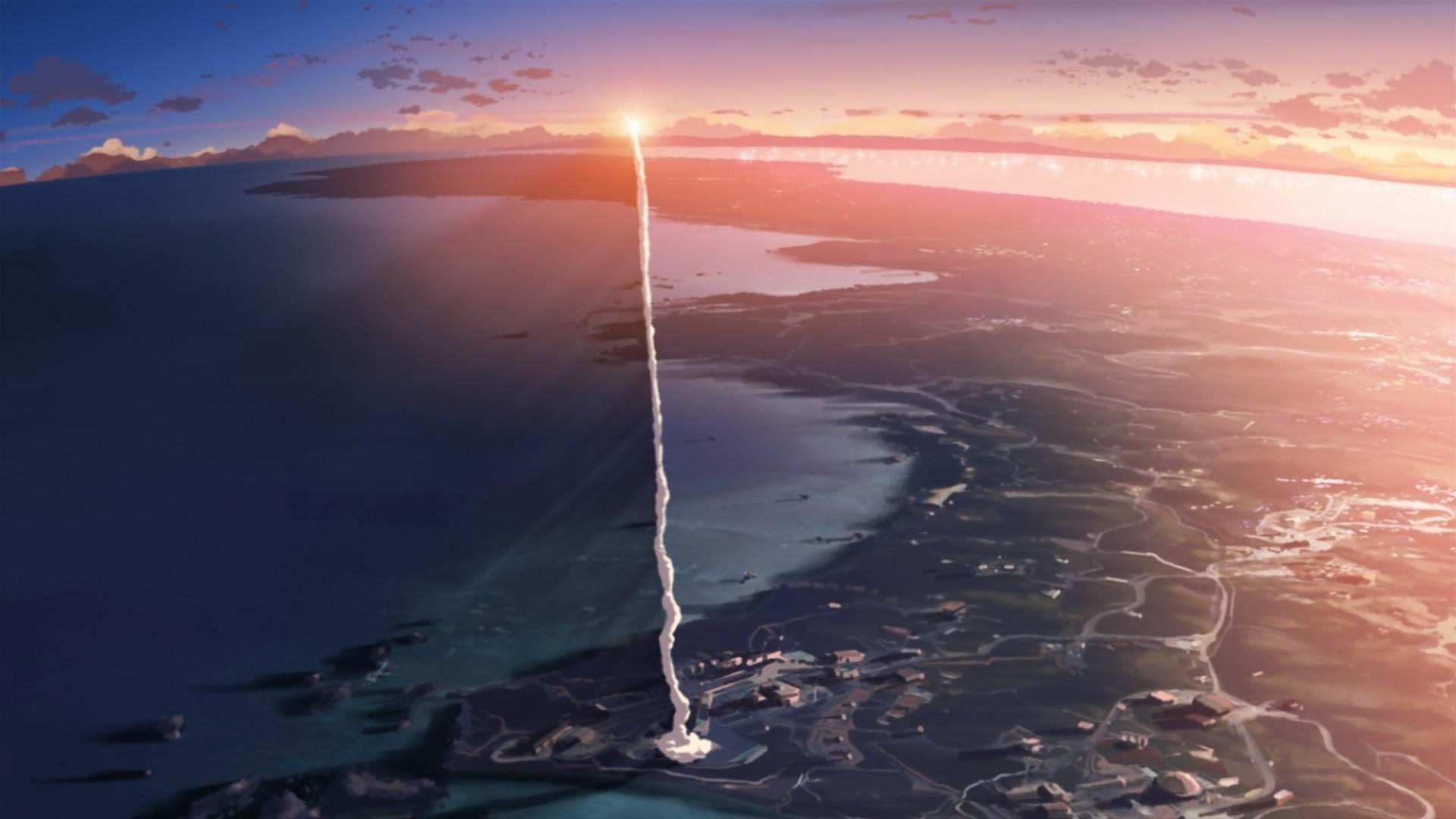 Rockets Smoke Sunset Japan Anime 5 Centimeters Per - 5 Centimeters Per Second Rocket , HD Wallpaper & Backgrounds