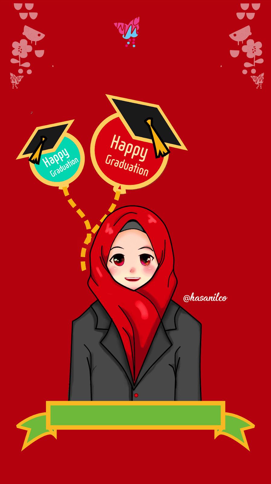 Happy Graduation Cartoon Muslimah HD Wallpaper