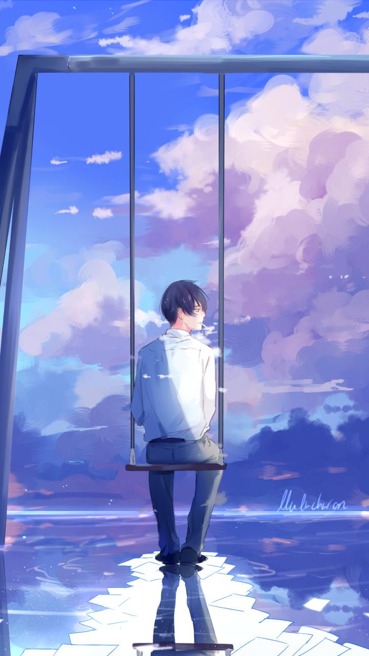 Reflection, Cloud, Boys, Creative Arts, Art Hd Wallpaper - Phone Wallpaper Anime Boy Art , HD Wallpaper & Backgrounds