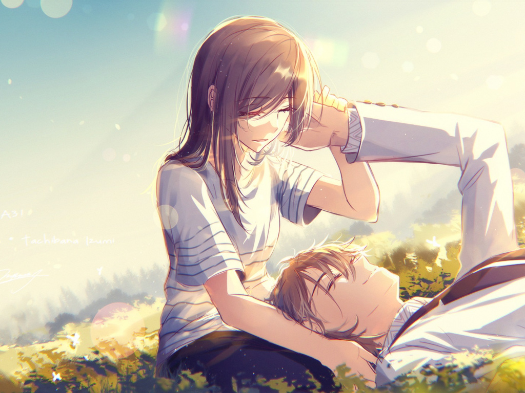 Wallpaper Cute, Anime, Couple, Meadow, Love - Love Cute ...