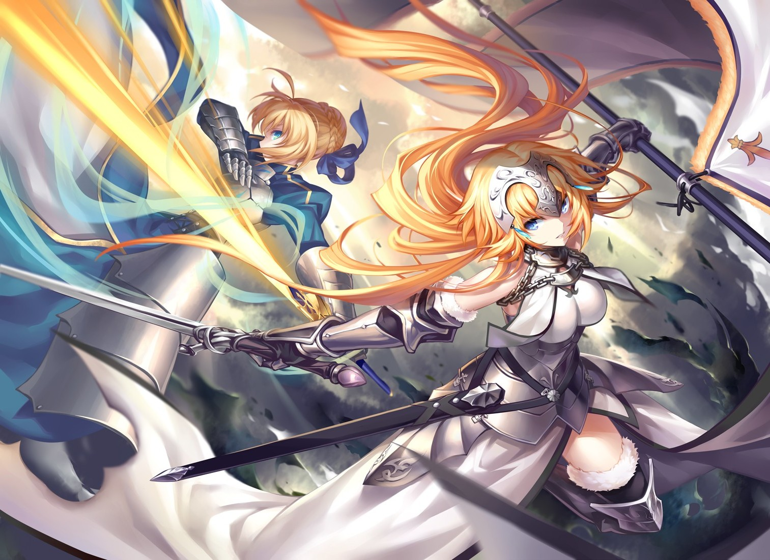 Anime Anime Girls Fate Series Saber Sword Fighting
