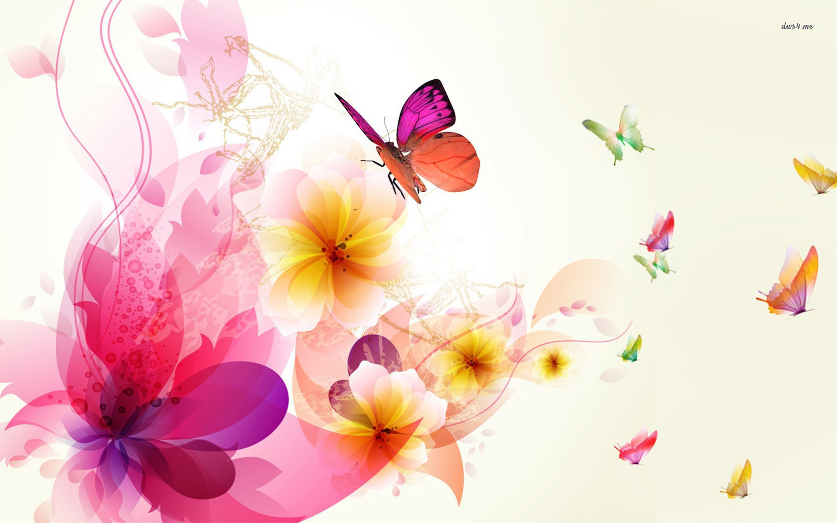 Desktop Butterflies Wallpaper Collection Flower Abstract