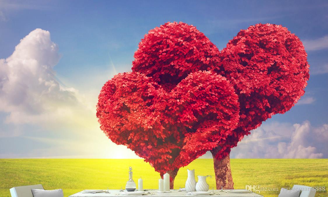 Custom Wallpaper 3d Modern Simple Love Tree Red Maple - Papel De Parede De Amor , HD Wallpaper & Backgrounds