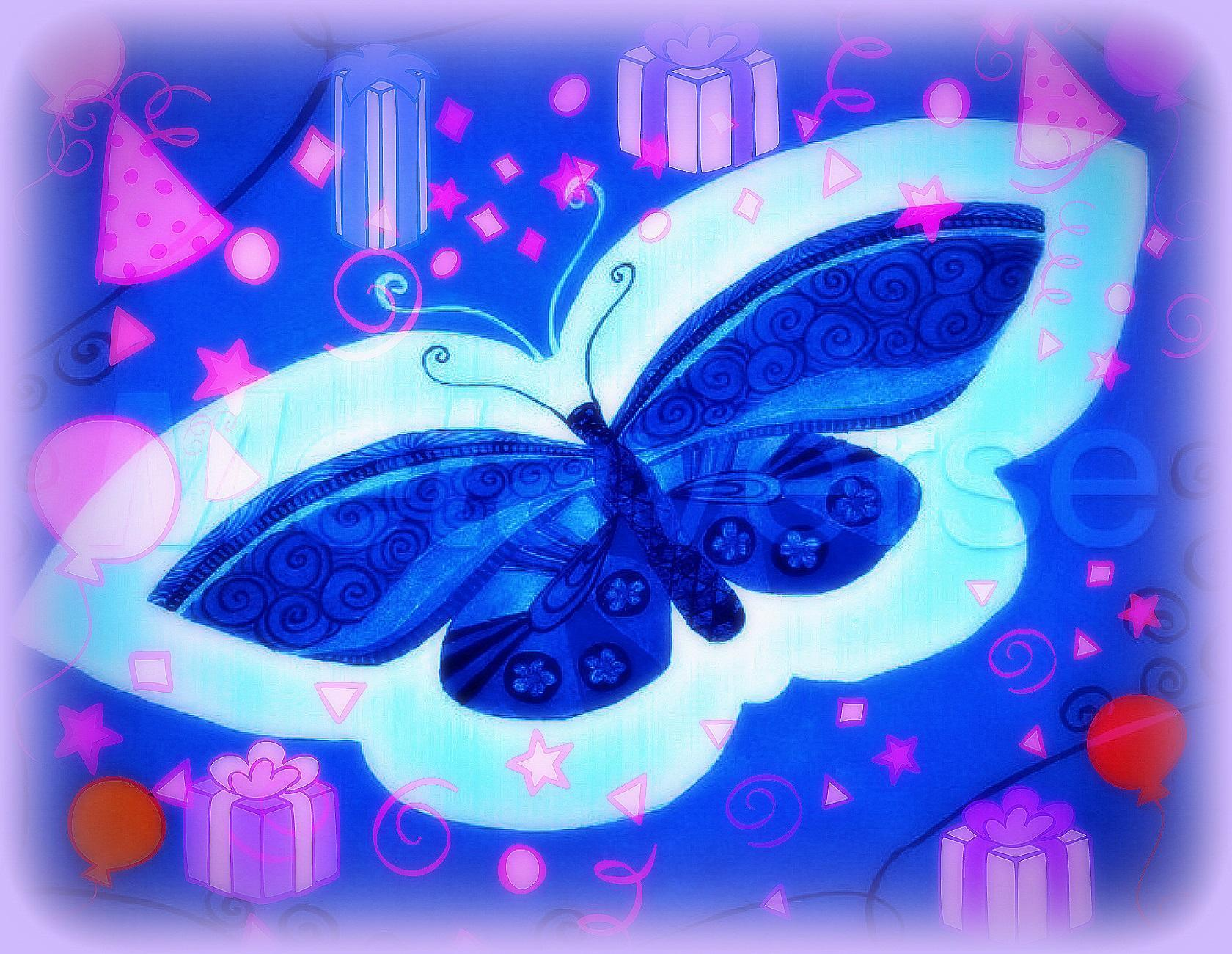 Blue Butterfly Christmas Gift Wallpaper Live 164001