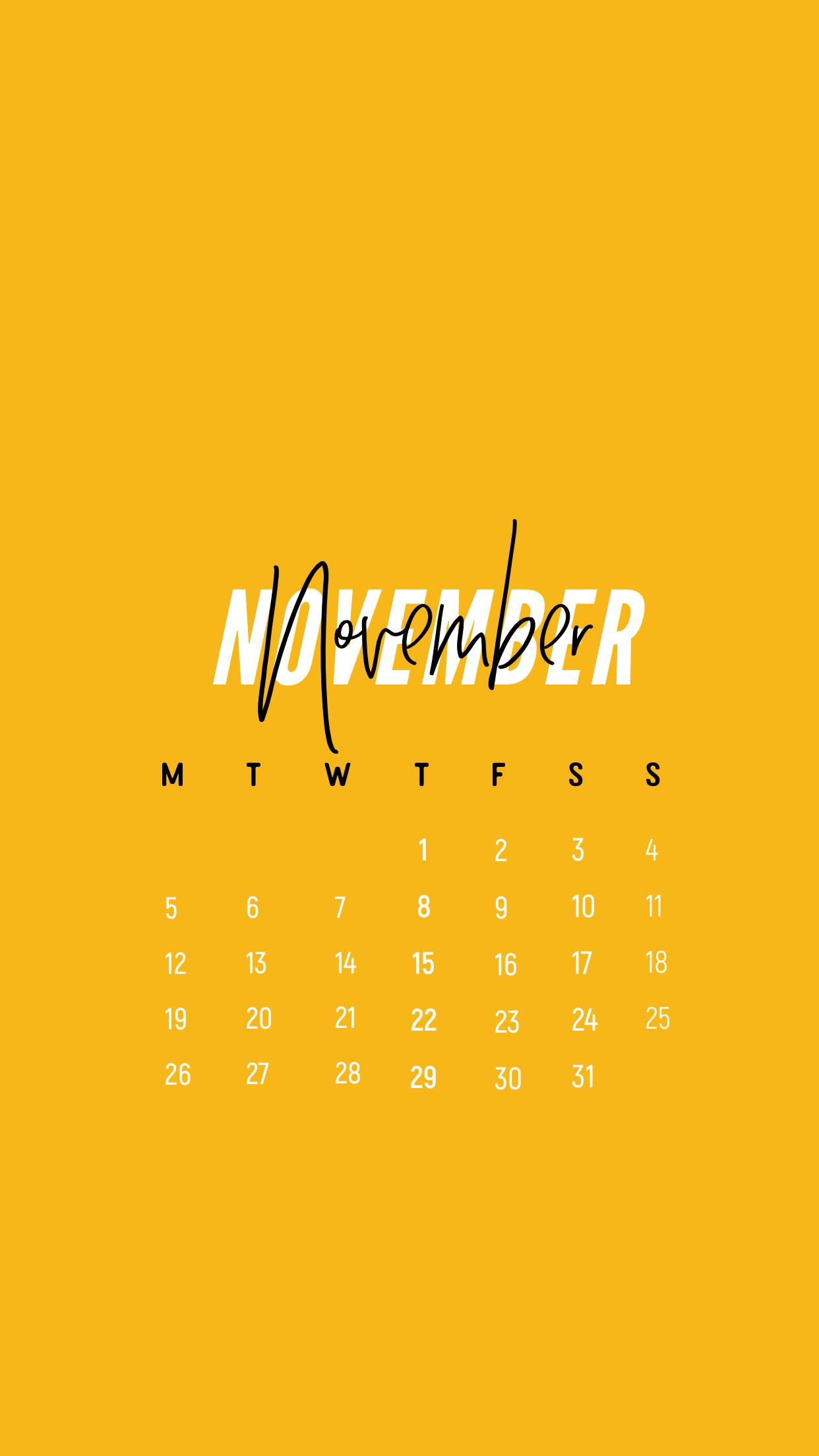 Minimal November 2018 Calendar Wallpaper Iphone