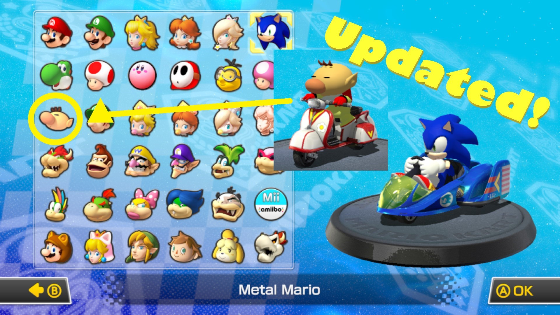 Menu With Sonic Kirby And Bowser Jr Mario Kart 8 Wii U