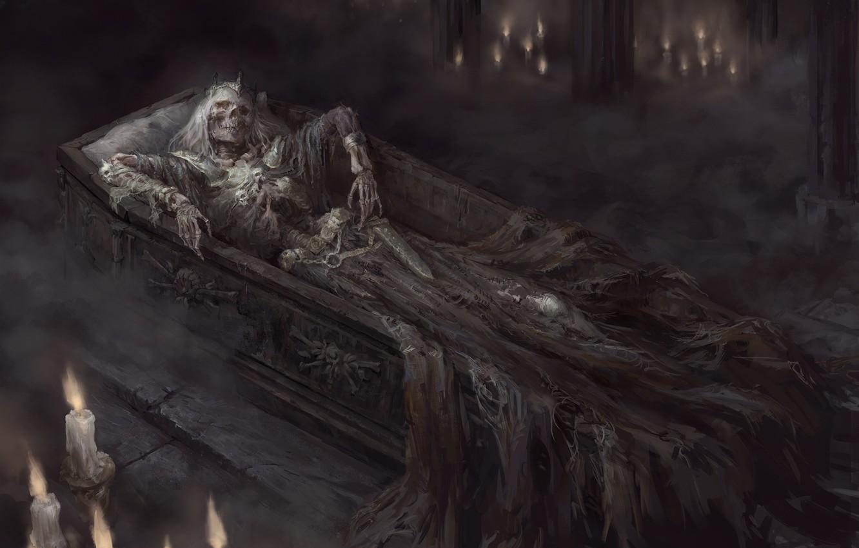 Photo Wallpaper Skull, Candles, Corruption, Skeleton, - Dark Fantasy Skeleton , HD Wallpaper & Backgrounds