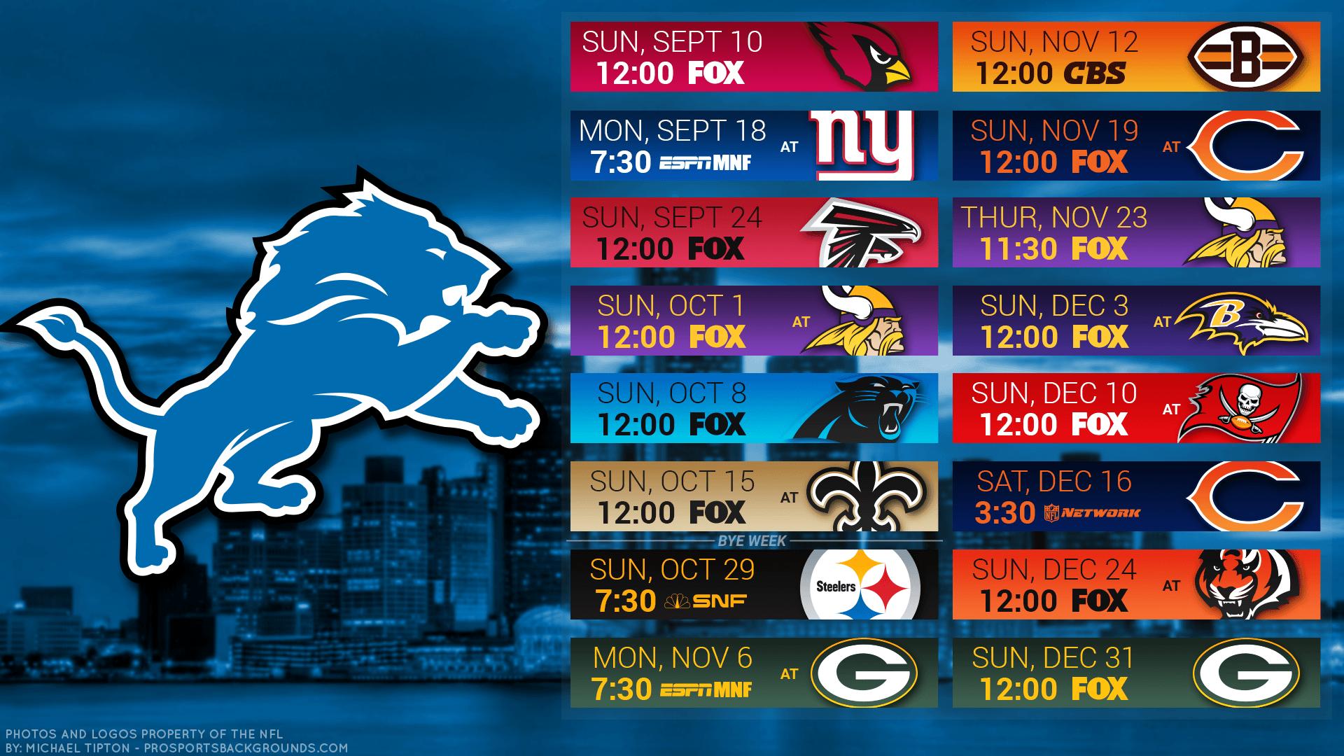 11 Detroit Lions Hd Wallpapers - Detroit Lions Schedule 2018 Printable , HD Wallpaper & Backgrounds