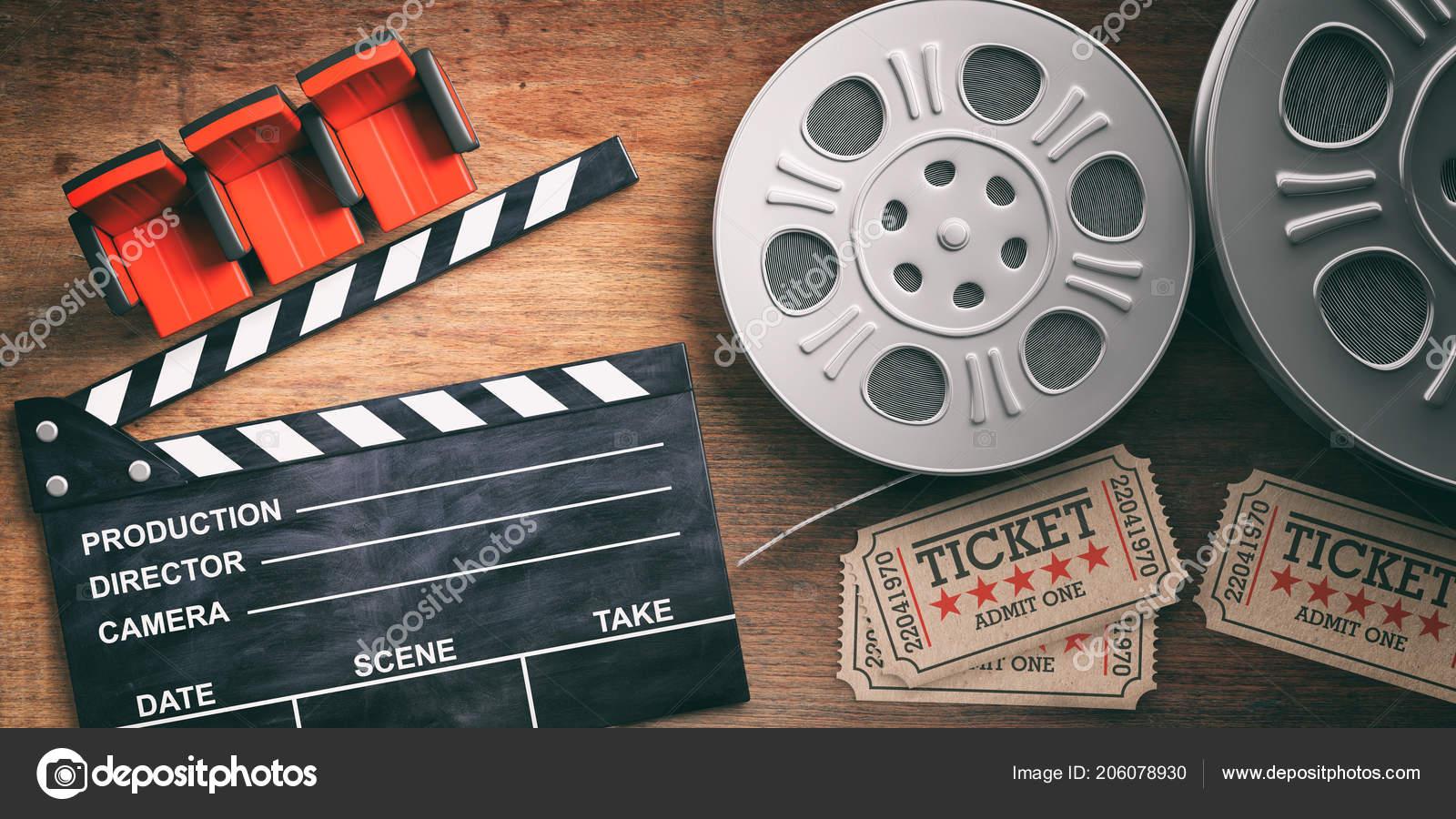 Cinematography Concept Film Reels Retro Cinema Tickets