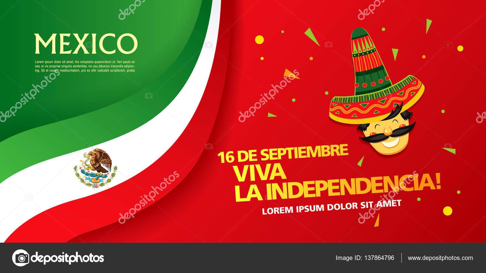Bandera Del Día De Independencia De México Ilustración - Flyer ...