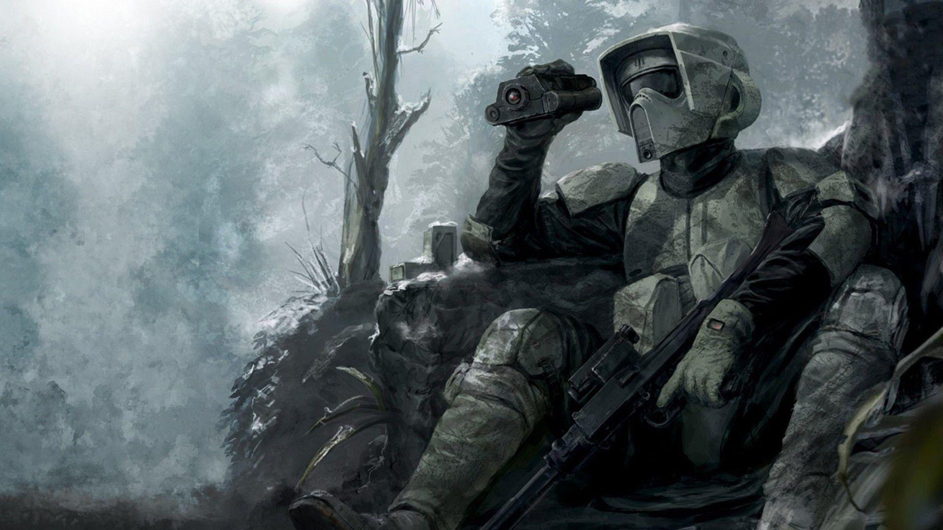 Star Wars Scout Trooper Wallpaper - Star Wars Clone , HD Wallpaper & Backgrounds