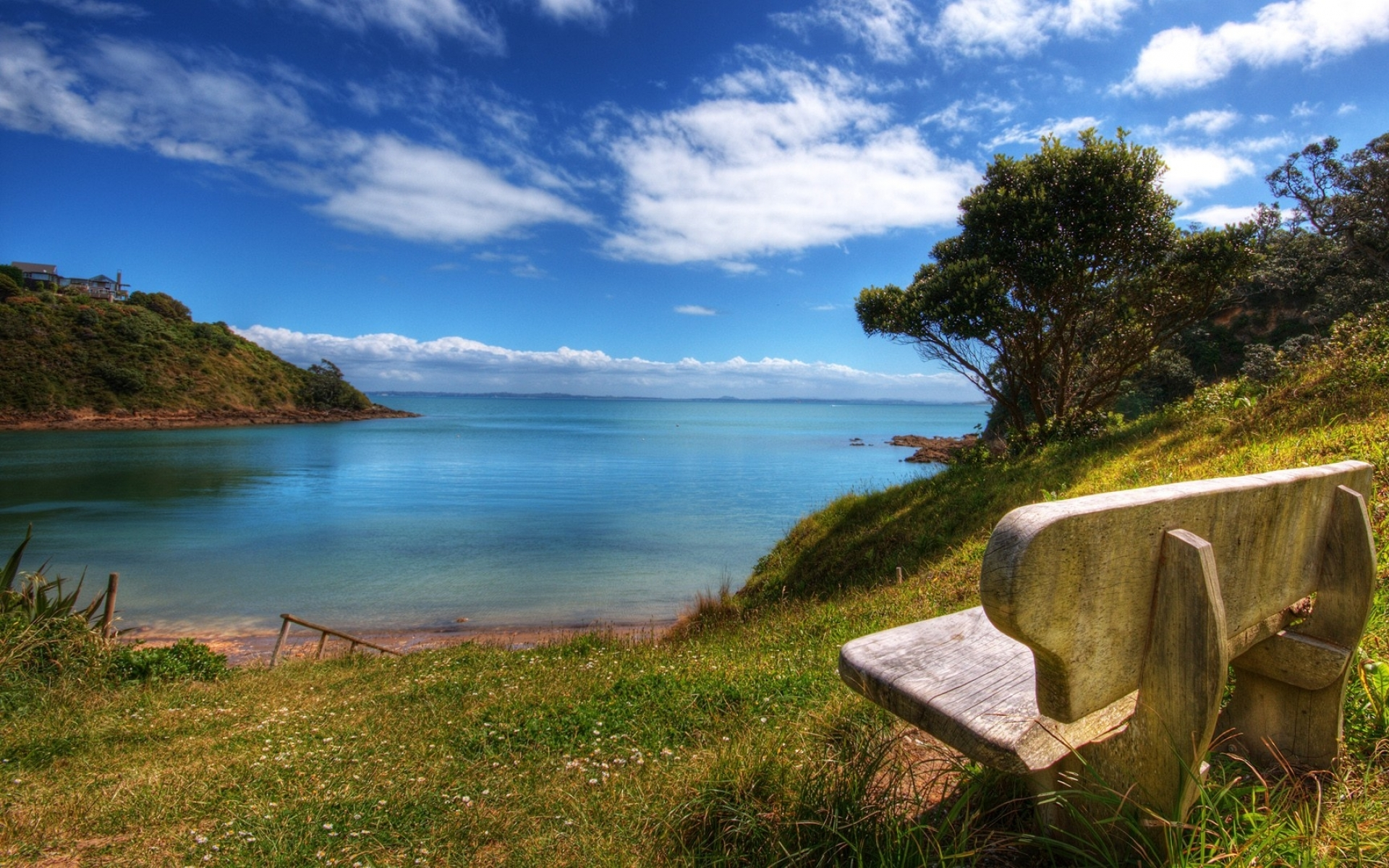 Lovely Ocean Scenery & Bench Wallpapers And Stock Photos - Beautiful Nature , HD Wallpaper & Backgrounds