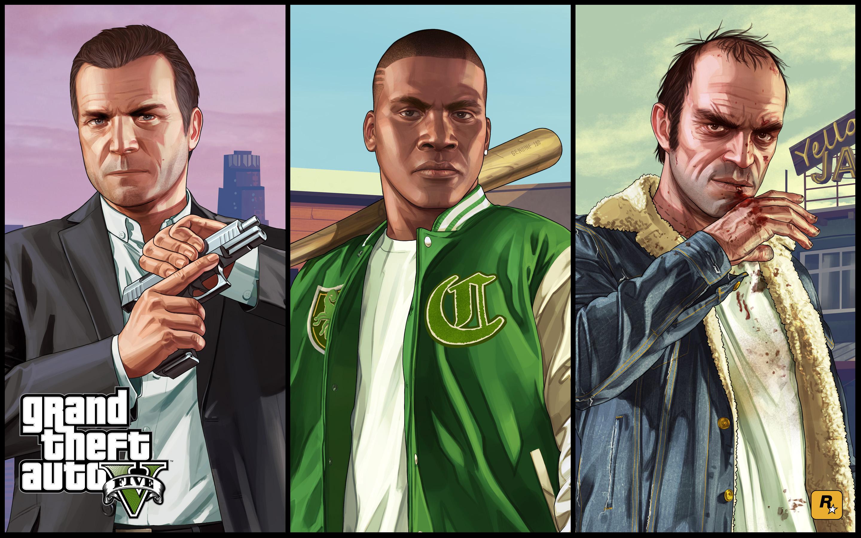 Widescreen Gaming Gta 5 1622 Wallpaper Michael Franklin - Gta 5 Characters , HD Wallpaper & Backgrounds