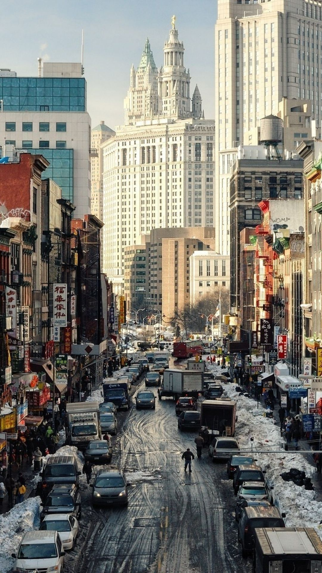 New York Street Ny Usa Iphone Se Wallpaper Chinatown