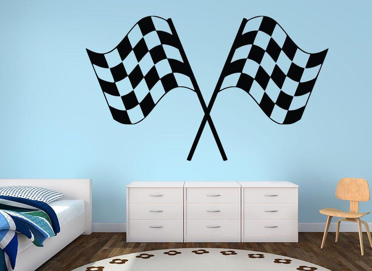 Checkered Flag Wall Decal Boys Bedroom  Wall Decor Checkered Flag Decal Race Theme Decor Name Decal For Wall Baby Boy Nursery