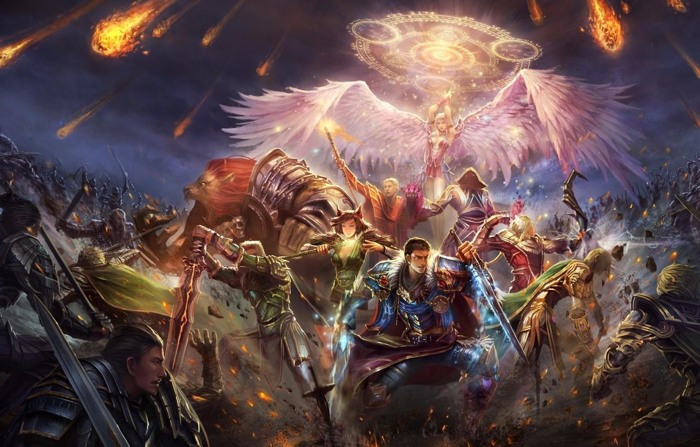Photo Wallpaper Magic, Wings, Angel, Sword, Army, Battle, - Perfect World International Genesis , HD Wallpaper & Backgrounds