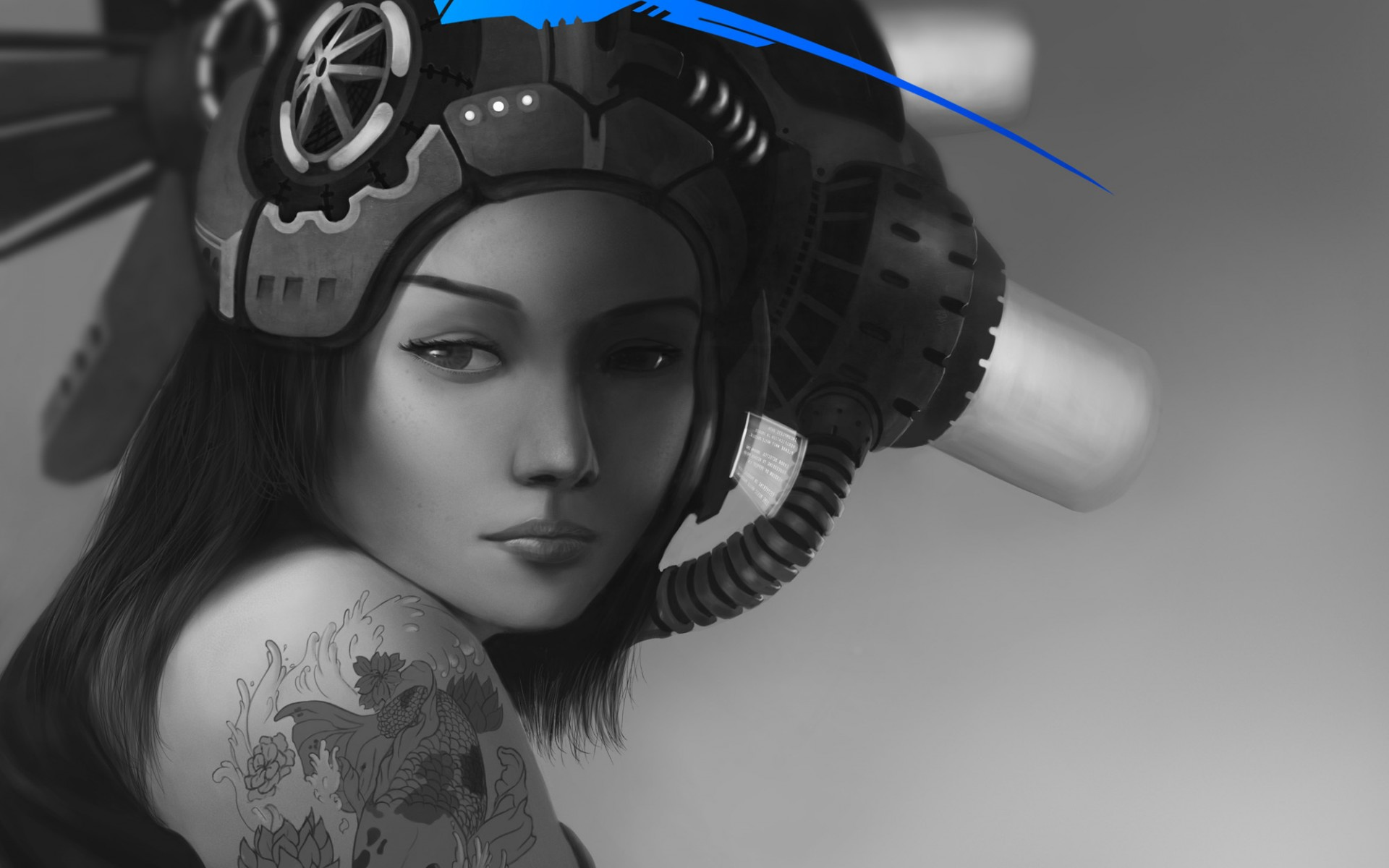 Art Girl Hat Monochrome Black And White Blue Black Girls And Sci Fi 1671289 Hd Wallpaper Backgrounds Download