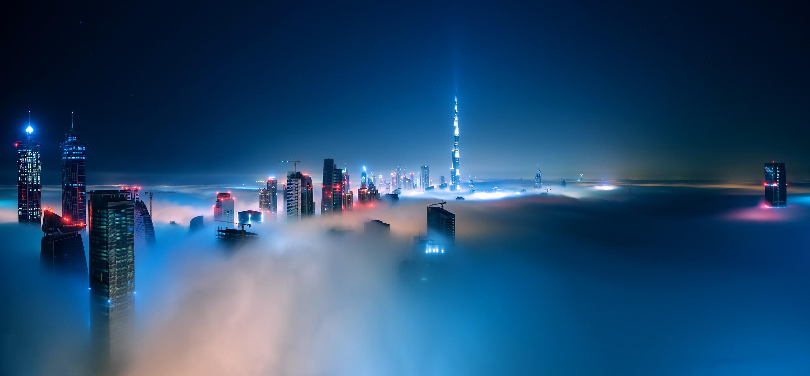 Cityscape Mist Night Clouds Building Dubai