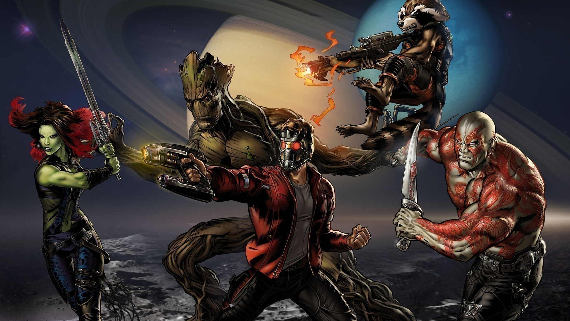 Guardian Of The Galaxy Wallpaper Star Lord Groot And Rocket