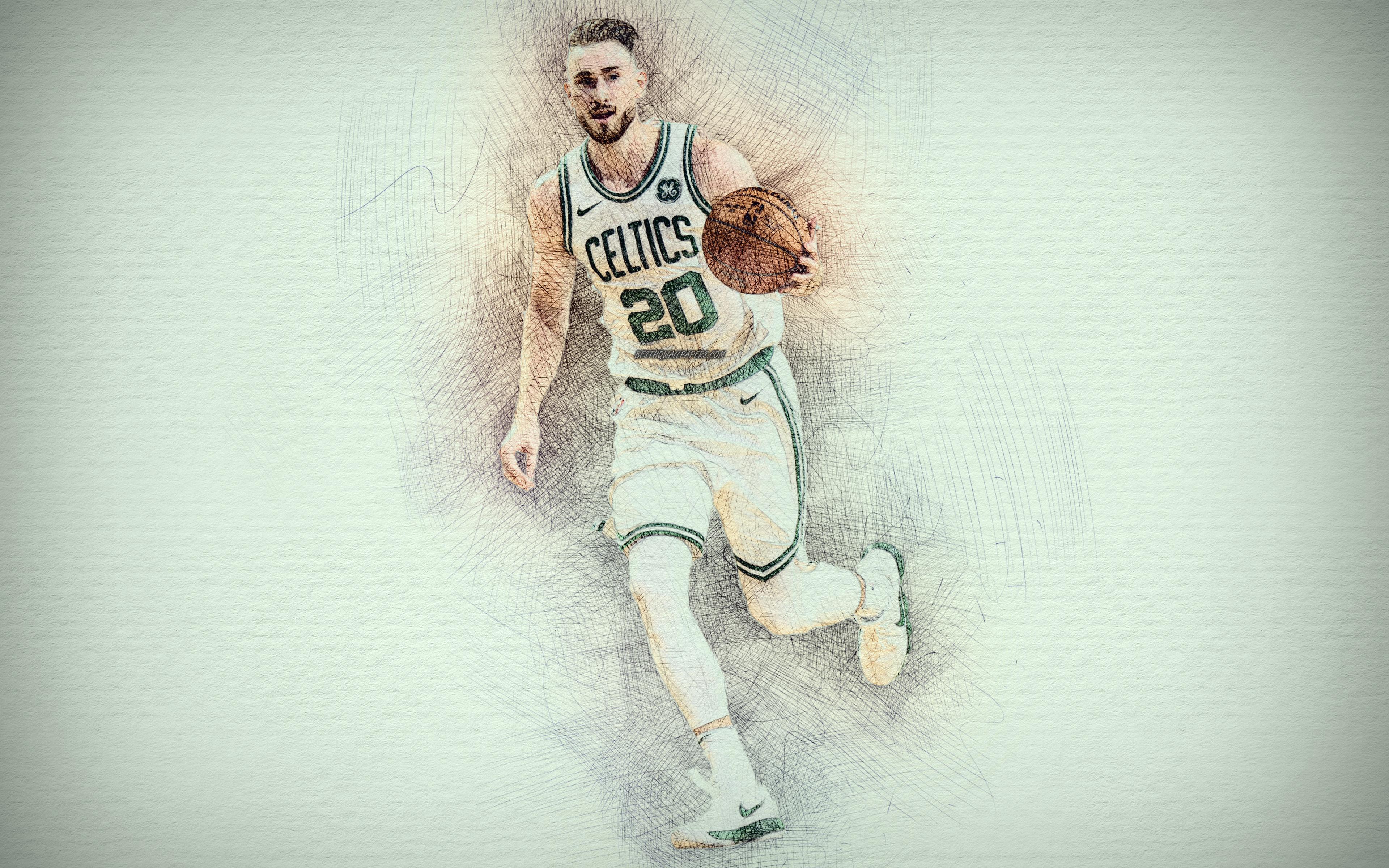 Download Wallpapers Gordon Hayward, 4k, Artwork, Basketball - Gordon Hayward Wallpaper Hd , HD Wallpaper & Backgrounds