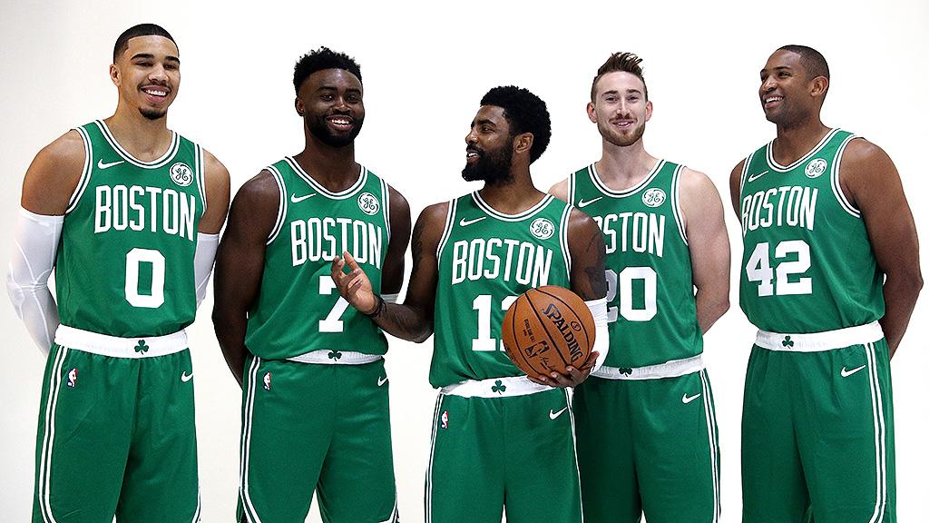 Jayson Tatum, Jaylen Brown, Kyrie Irving, Gordon Hayward - Celtics Media Day 2018 , HD Wallpaper & Backgrounds