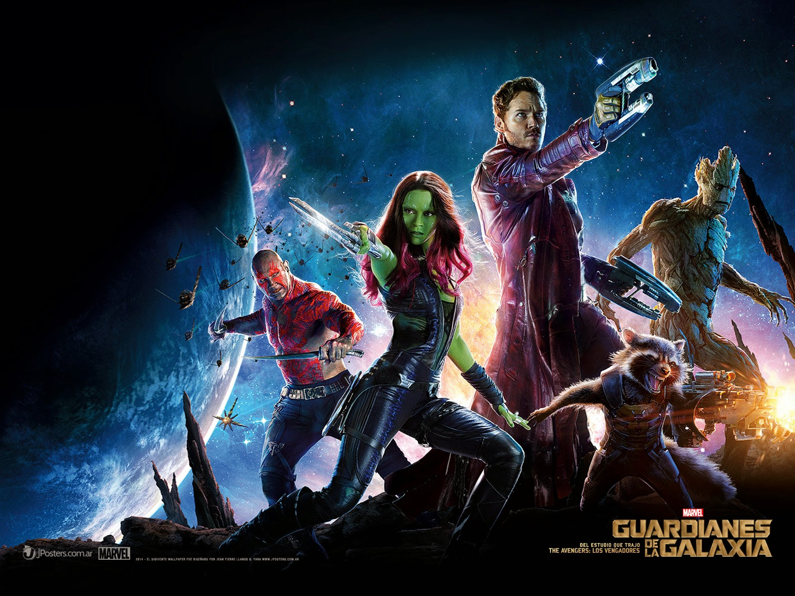 Guardianes De La Galaxia Wallpaper - Star Lord Gamora Rocket Drax And Groot , HD Wallpaper & Backgrounds