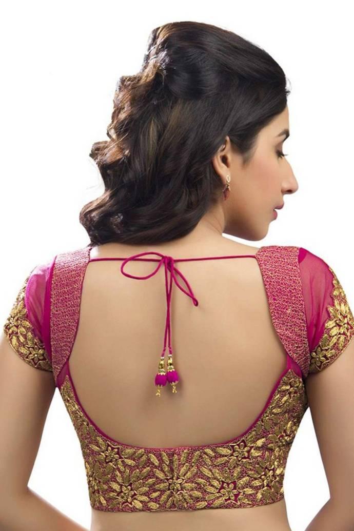 27short Sleeve Wide Back Choli Blouse Design For Sarees - Lehenga Blouse Back Neck Designs , HD Wallpaper & Backgrounds