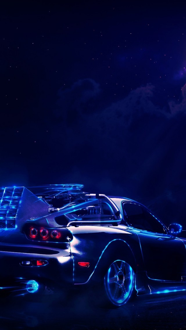 Back To The Future Mazda Rx7 Moon Digital Art Back To
