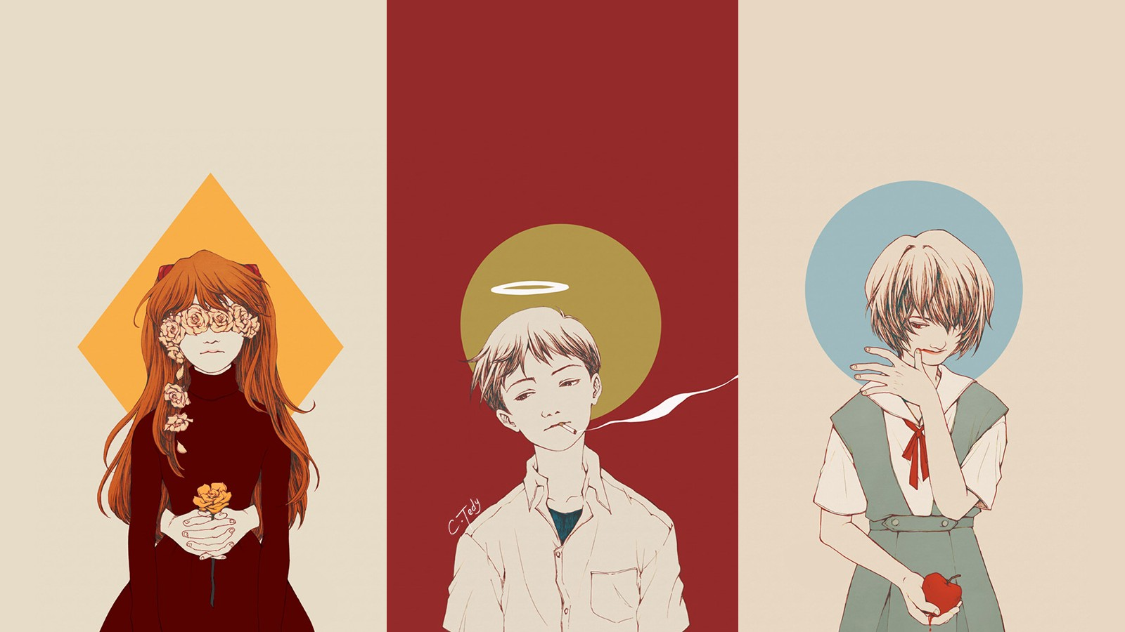 Neon Genesis Evangelion Asuka Langley Soryu Ayanami - Asuka Shinji Rei Art , HD Wallpaper & Backgrounds