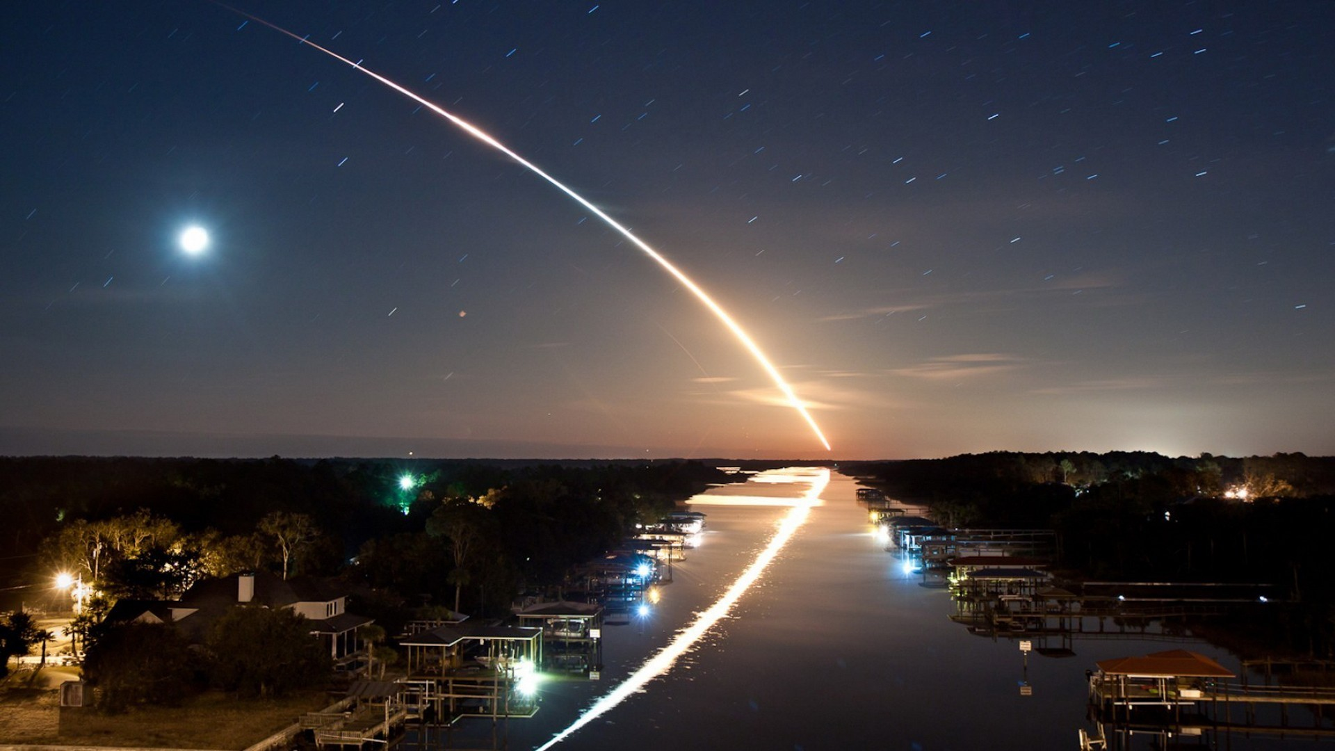 #river, #landscape, #shooting Stars, #digital Art, - Space Shuttle Launch , HD Wallpaper & Backgrounds