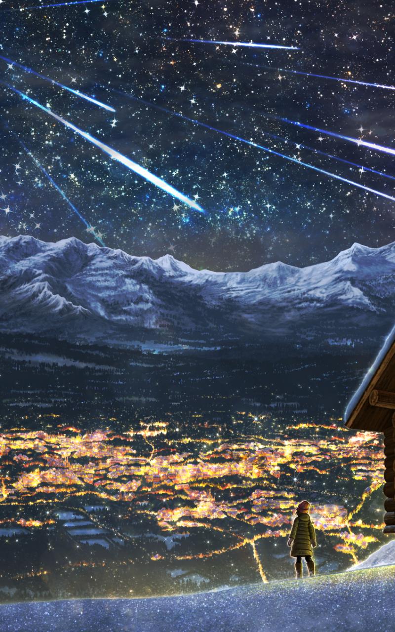 Anime Cityscape Landscape Stars Night Scenic Anime Landscape