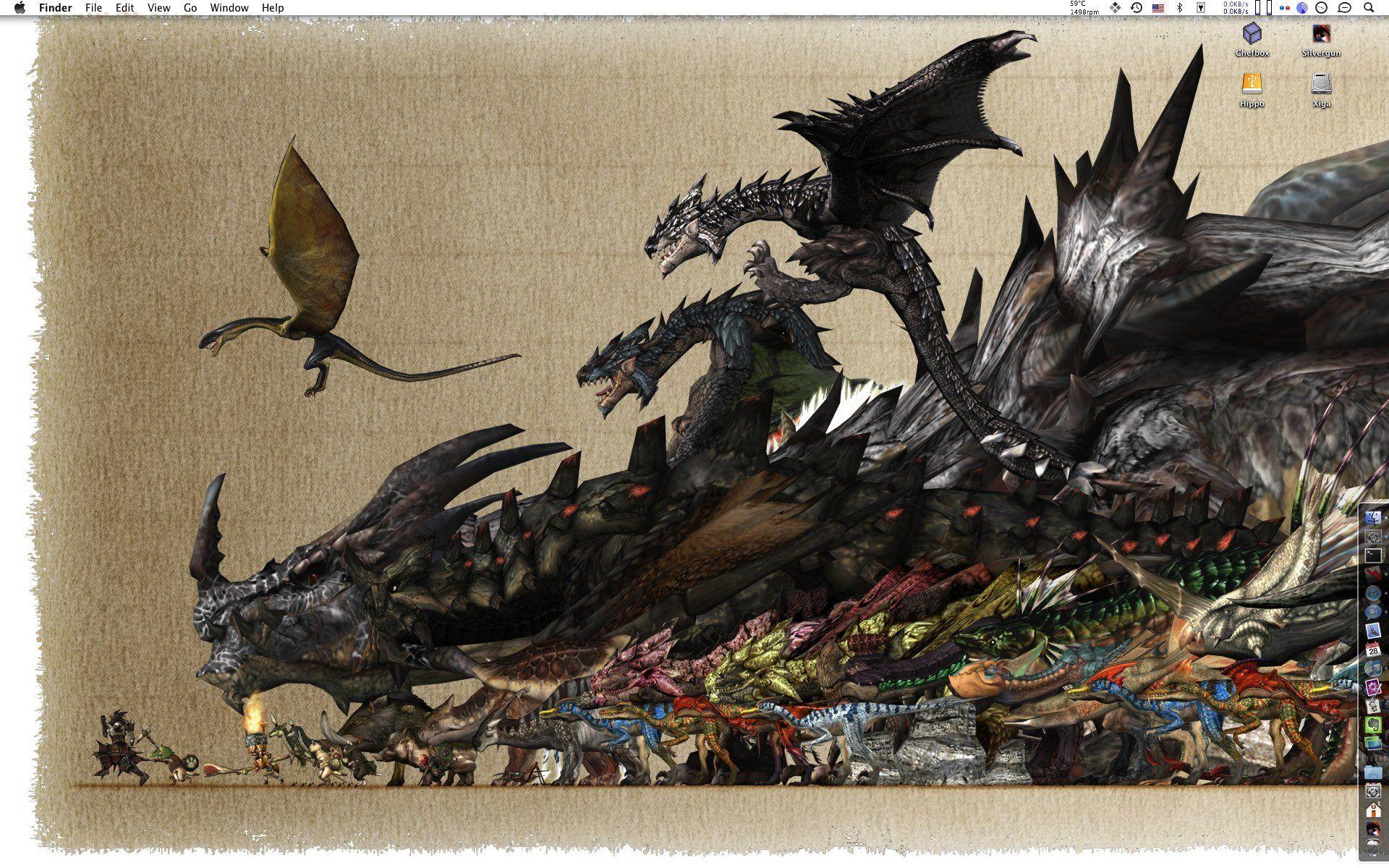Monster Hunter Freedom Unite Monster Wallpaper - Monster Hunter World Monster Size , HD Wallpaper & Backgrounds