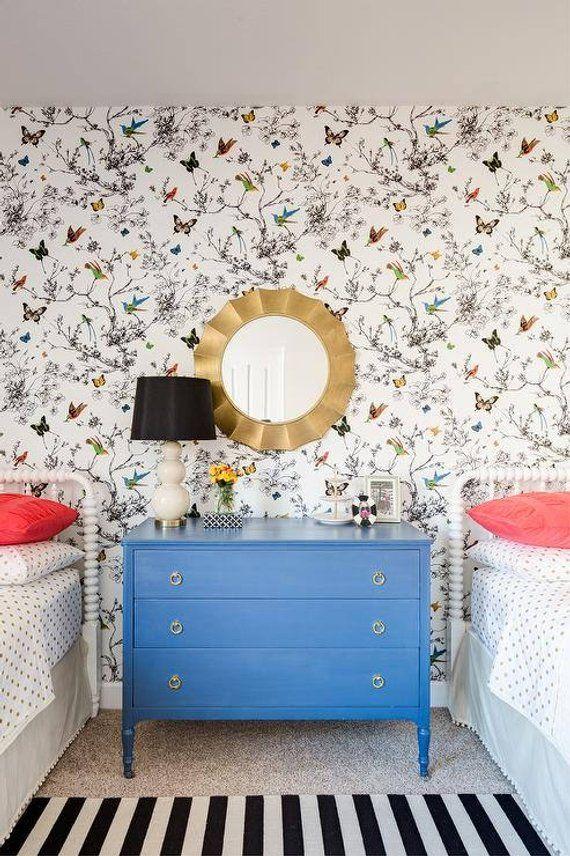Schumacher Birds And Butterflies Wallpaper Decorative - Birds Butterflies , HD Wallpaper & Backgrounds