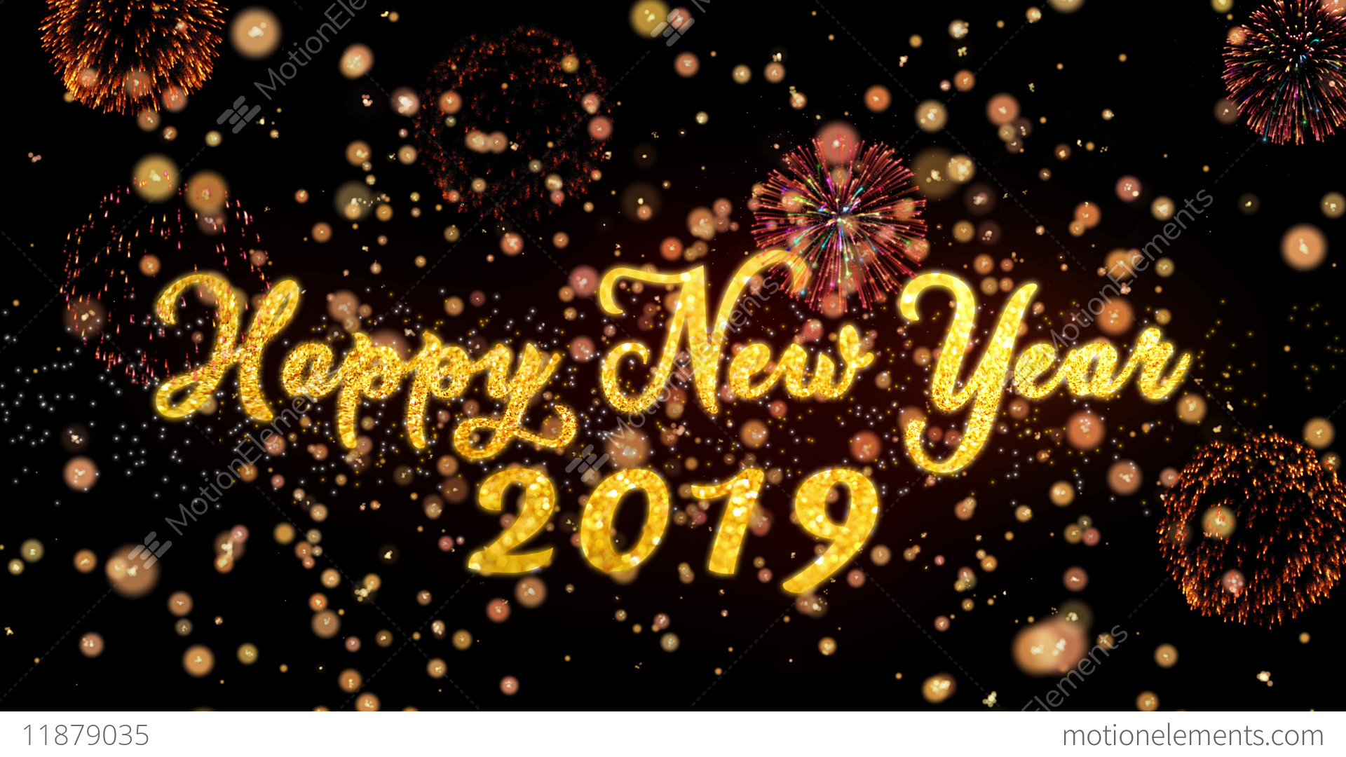 Happy New Year 2019 Abstract Particles And Glitter - Happy New Year 2019 Animation , HD Wallpaper & Backgrounds
