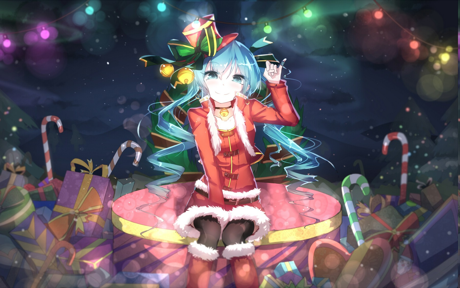 Hatsune Miku, Vocaloid, Anime Girls, Christmas, Blue - Nightcore We Wish You A Merry Christmas , HD Wallpaper & Backgrounds