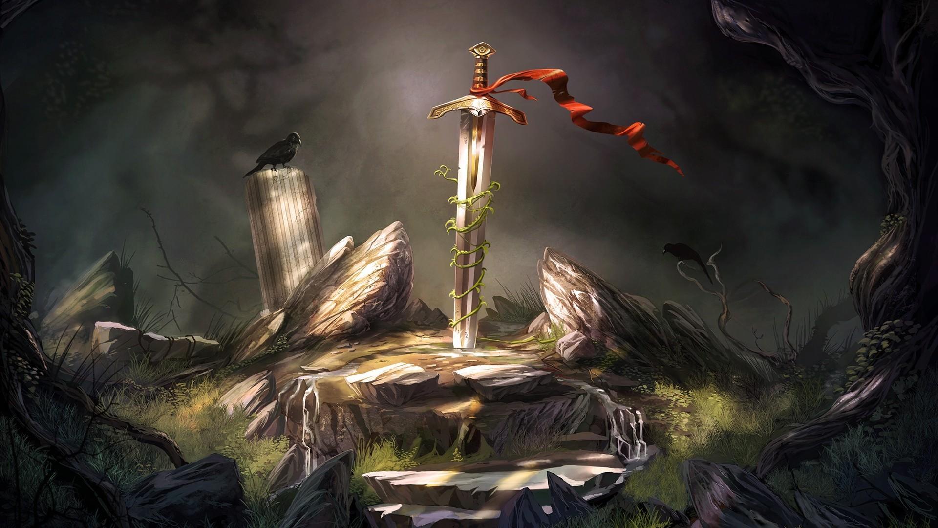 Excalibur Sword Wallpaper Sword In The Stone Art 1778258 Hd