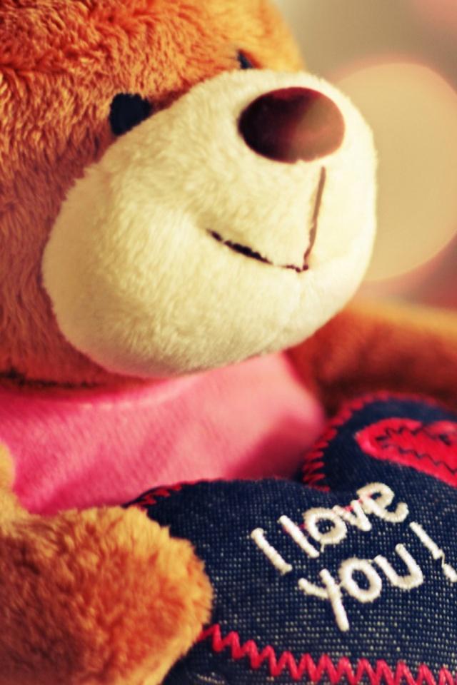 I Love You Teddy Bear Mobile Wallpaper - Love U Teddy Bear , HD Wallpaper & Backgrounds