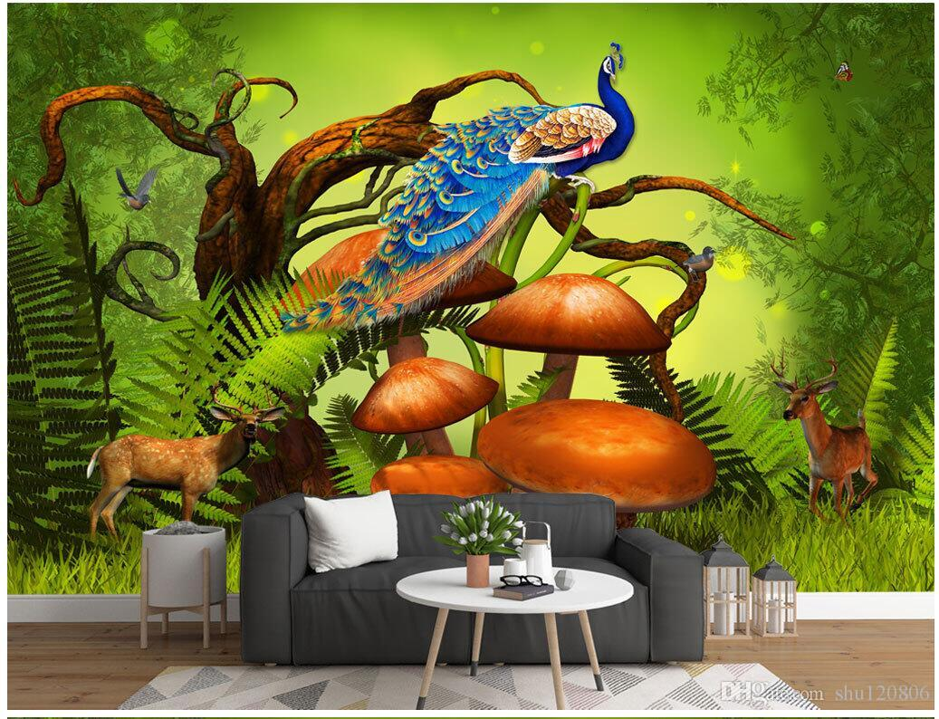 3d Room Wallpaper Cloth Custom Photo Mysterious Primeval - Art Fantasy Forest Mushrooms , HD Wallpaper & Backgrounds