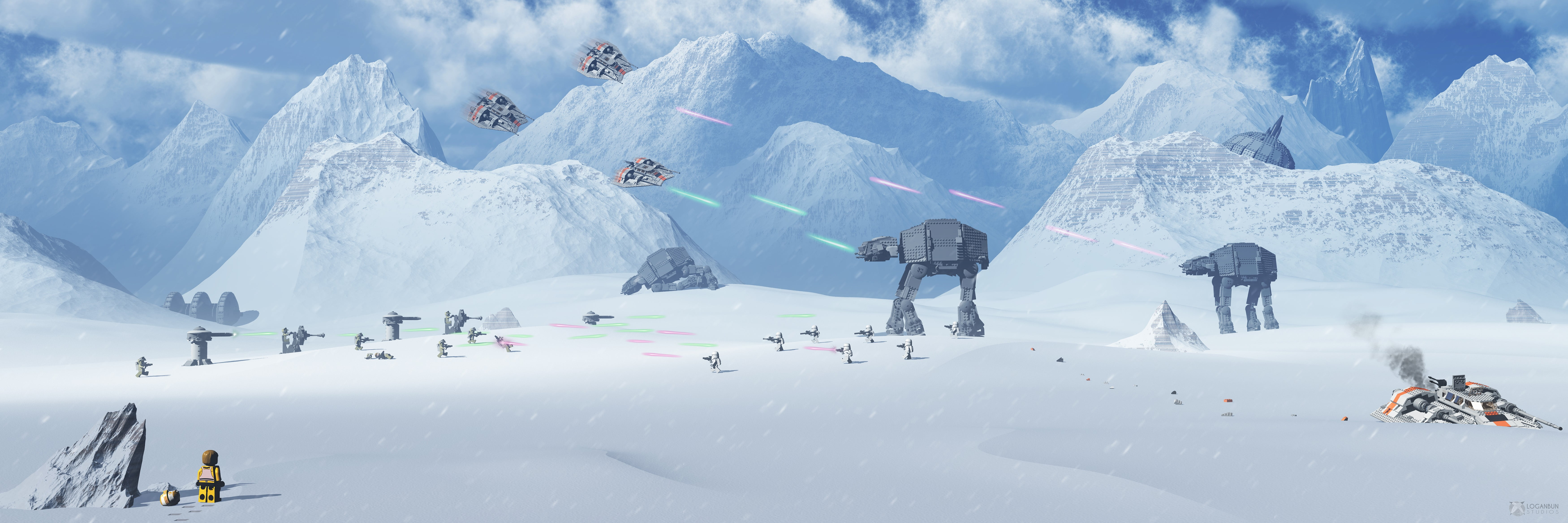 Star Wars Lego Star Wars Battle Of Hoth Atat Snow Star Wars Battle Panoramic 1790336 Hd Wallpaper Backgrounds Download