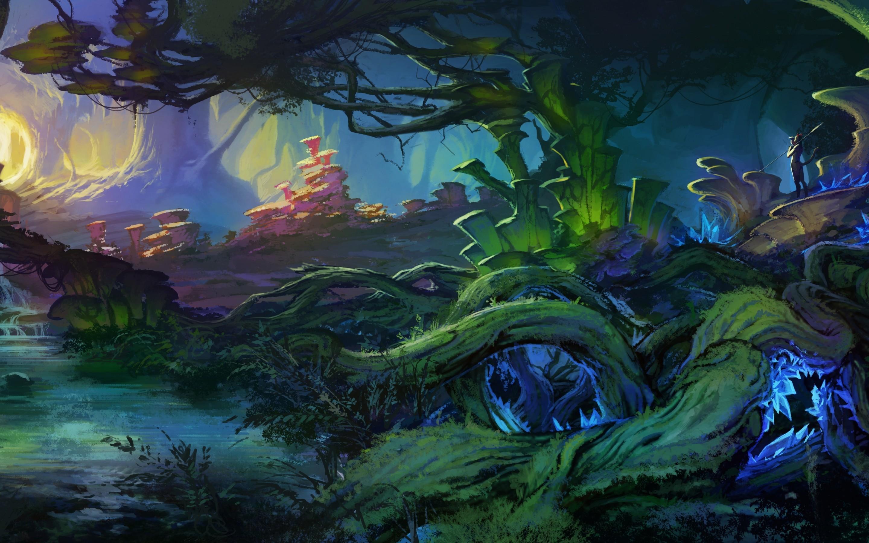 Art, Landscape, Fantasy, World, Bush, Plants, Trees, - Fantasy Bush , HD Wallpaper & Backgrounds