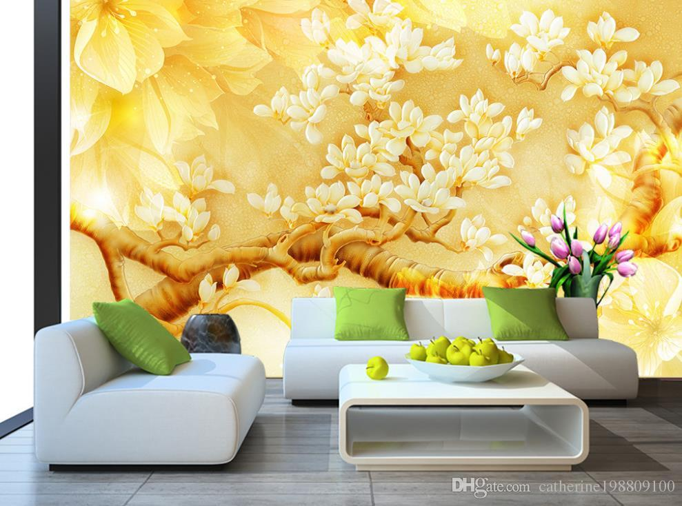 18 182116 3d wallpaper for room golden yellow magnolia color