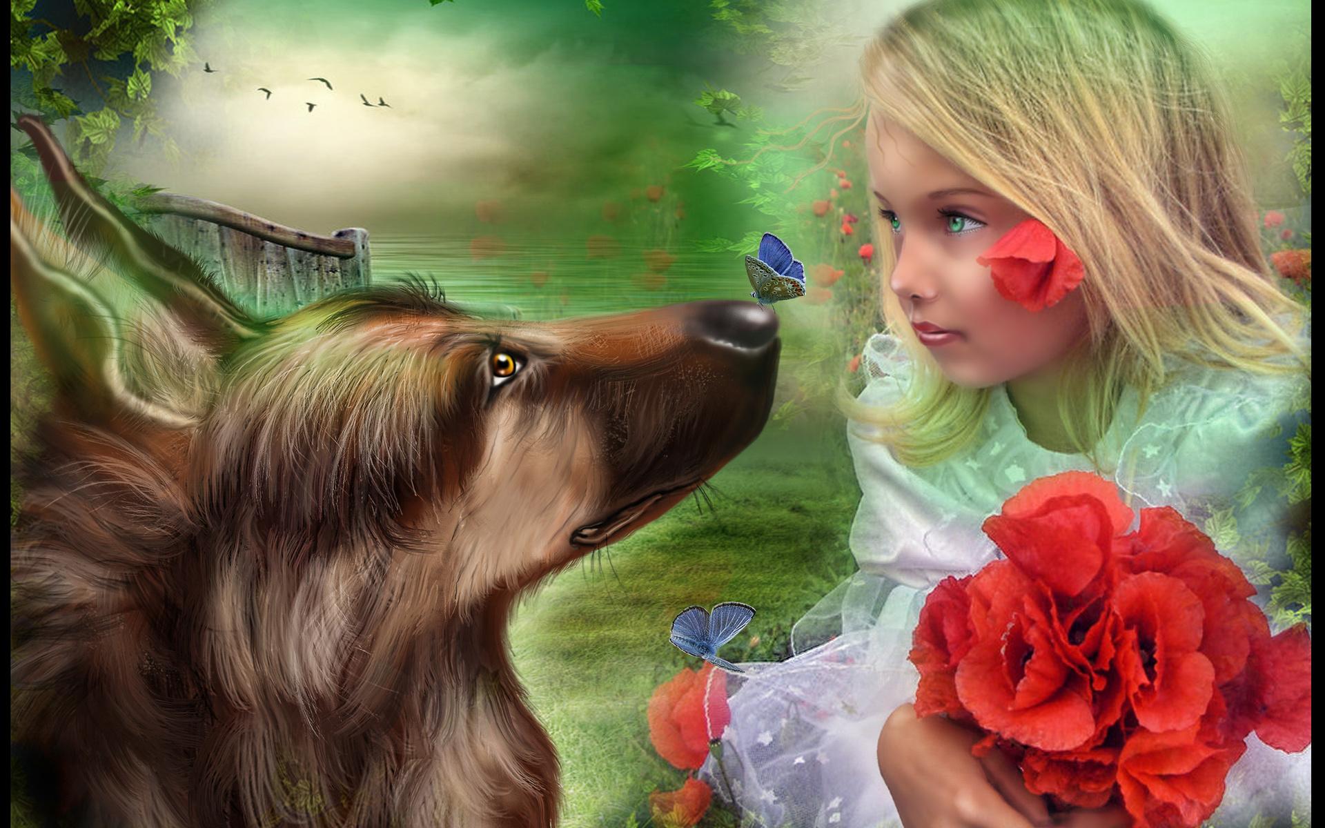Mood, Flowers, Flower, Children, Child, Dogs, Dog, - Fantasy Girl Child , HD Wallpaper & Backgrounds