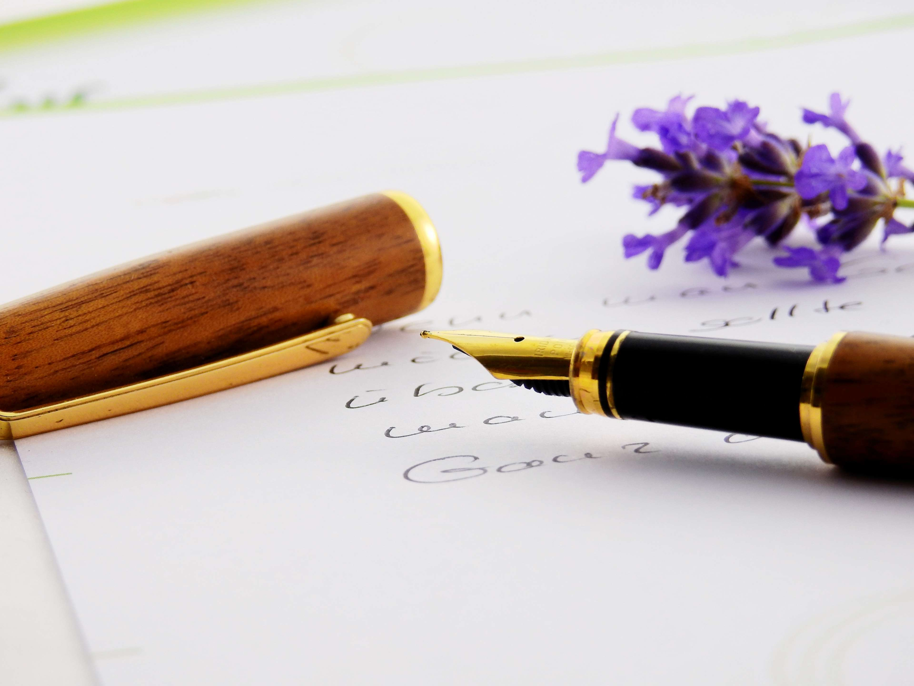Desk Flowers Fountain Pen Paper Pen Writing 4k Pen